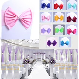 spandex chair covers bands NZ - Spandex Lycra Chair Sashes Elastic Satin Chair Bands with Buckle for Wedding Chair Cover Sashes Bows Wholesale