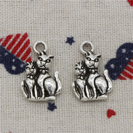 $enCountryForm.capitalKeyWord Canada - Wholesale- 96pcs Charms cat 22*15mm Pendant,Vintage Tibetan Silver,For DIY Necklace & Bracelets Jewelry Accessories