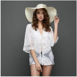 Women Lace Embroidery Kimono Blouse Stylish Mesh Sheer See Through Beach Cardigan Bikini Cover Up Wrap Beachwear Long Blouse New Superior Materials Women's Clothing