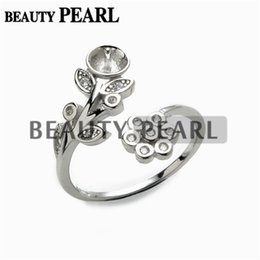 $enCountryForm.capitalKeyWord UK - 1 Piece Pearl Jewellery Findings Ring Semi Mount 925 Sterling Silver Floral DIY Making Ring Blank