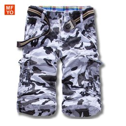 Barato Cargas Do Exército Dos Homens-Venda por atacado - 2016 New Arrival Shorts Men Summer Camouflage Mens Shorts Bolsos Casual Loose Army Cargo Combat Shorts Bermuda Plus Size 29-38