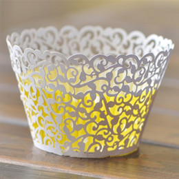 Cupcakes Mix Australia - Lace Cupcake Wrapper Muffin Cups Decoration Cupcake Laser Cut Cupcake Baking Mold Decoration Wedding Party Decorating Supplies