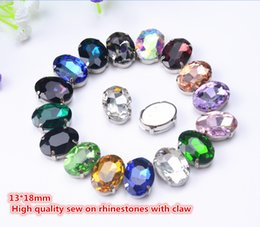 fancy crystal buttons NZ - free shippment! fancy 13*18mm oval sew on crystal beads with metal claw setting ,Sewing beads stone buttons 30pcs lot