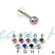lip stud piercings NZ - Wholesale Gem Stone Labret piercing Lip Ring Stud 16G 3mm Ball Straight 316L Surgical steel 100pcs lot mixed color