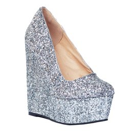 6baf98dfd6c39e Discount silver glitter wedge heel wedding shoes - Kolnoo Womens Fashion  Handmade 15cm Wadge High Heel