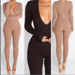 Mujeres V Cuello Paquete Baratos-Mujer Knitting Jumpsuits Primavera Mujer Slim Sexy Club nocturno Deep V Neck manga larga paquete Hip Knitting Bodycon Jumpsuits no incluye cinturón