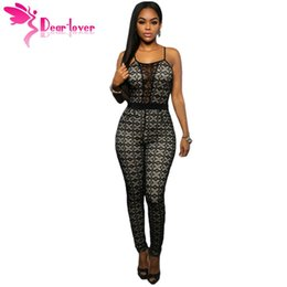 Catsuit En Dentelle Pour Femmes Pas Cher-Vente en gros- Dear Lover Women Bodycon Rompers 2016 Hot Black Lace Nude Illusion Jambe de serrure Jumpsuit Combinaison Femme Catsuit Long LC64038