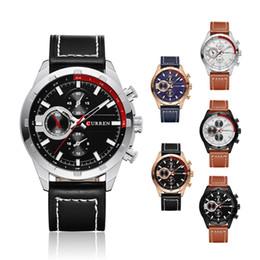 Round Clock Men Canada - Curren 8216 Brand Men Leather Casual Watch Quartz Date Clock Man Sport Watches Men's Wristwatch Relojes Hombre Wholesale