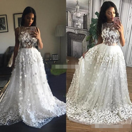 $enCountryForm.capitalKeyWord Canada - 3D Floral Appliques 2019 White Prom Dresses Long Sheer Jewel Neckline Lace Evening Gowns Sweep Train Formal Party Dress Sleeveless Cheap
