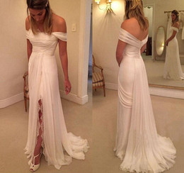 Barato Barato Chinês Nupcial-Cheap Summer Off The Shoulder Chiffon Vestido de noiva Jeans-High Slits White Bridal Dresses For Gowns on-line loja chinesa