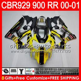 Honda Cbr929 Australia - Body For HONDA CBR 929RR CBR900RR CBR929RR 00 01 CBR 900RR 67HM21 Yellow new CBR929 RR CBR900 RR CBR 929 RR 2000 2001 Fairing kit 8Gifts