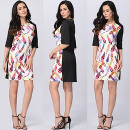Linge Femme Élégante Pas Cher-Women Print Mini Dress Patchwork Casual Robes High End Colored Leaves <b>Elegant Women Cloth</b> Fashion Promotion