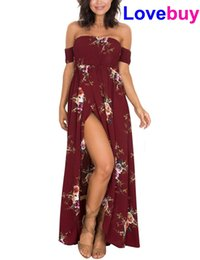 Beach Wedding Dresses Floral Canada - Lovebuy New EU US Women Floral Off the Shoulder Wrapped Chest Printed Split Chiffon Maxi Beach Long Dress Wedding Party for Lady Girl Female