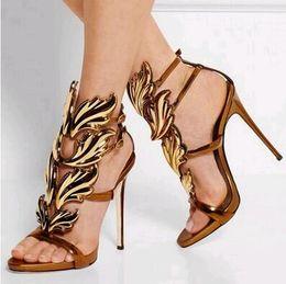 Ladies Metallic Dresses Canada - 2017 High Heels Brand Dress Sandals Metallic Winged Gladiator Women Sandals Summer Shoes Woman Sandalias Ladies Shoes Pumps Big Size