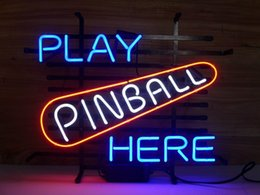 pinball signs UK - Fashion New Handcraft Play Pinball Here Real Glass Tubes Beer Bar Display neon sign 19x15!!!Best Offer!