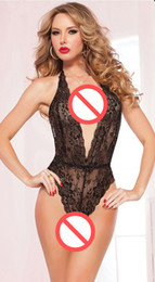 Ropa Interior De Cuello V Teddy Baratos-Sexy Red Black Stretch LACE TEDDIE y Lace Eye Mask Teddy Romper Onesie Ruffled Sissy Valentine Lingerie