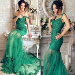 Spaghetti Sexuel Pas Cher-Mermaid Spaghetti Backless Lace Applique Tulle Robes de bal sans manches Sweep Train Formal Evening Party Robes Custom Made