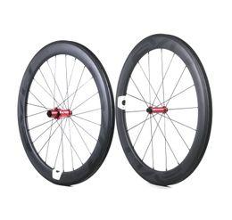 EVO Carbon Rennradfelgen 60mm Tiefe 25mm Breite Vollcarbon Drahtreifen / Rohr-Laufradsatz mit Straight Pull-Naben Anpassbare LOGO