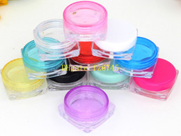 Makeup Art Storage Box Canada - 100pcs lot Free Shipping 2g Plastic Cosmetic Empty Jar Pot Box Makeup Nail Art Cosmetic Bead Storage Container Square Bottle