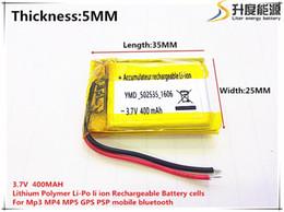 Battery Gps Polymer Australia - Hot selling 502535 polymer battery 5 * 25 * 35 (mm) 400MAH 3.7V 0.4 (A) GPS MP3 MP4 MP5 Bluetooth headset battery