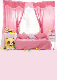 Backdrops indoor vinyl online shopping - Indoor Room Pink Curtains Bed Photo Backdrop Bright Window Colorful Balls Bear Toys Kids Children Photography Background Vinyl Cloth