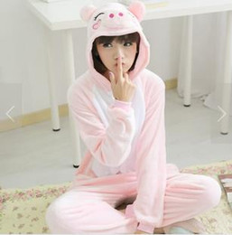 Costumes De Cosplay De Dessin Animé Pas Cher-Hot Autumn Winter Couple à manches longues Flanelle en molleton Pyjama mignonne en cochon Cartoon Animals Tracksuit Hommes Costume pour les femmes Costume Kigurumi Loungewear