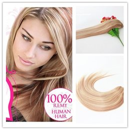 ombre hair prices Canada - 9A Human Hair Clip In Extension Wholesale Price High Quality Balayage Ombre #18 #613 Clip In Remy Human Hair Extension