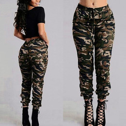 Wholesale women skinny cargo pants for sale - Group buy Camouflage Printed Pants Plus Size S XL Autumn Army Cargo Pants Women Trousers Elastic Waist Pants