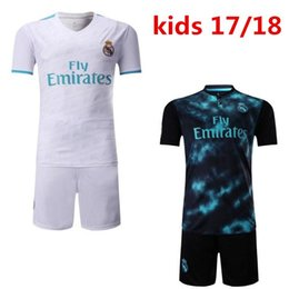 f3b22f22c84 2017 2018 kids Real madrid soccer Jerseys New Font 17 18 RONALDO white  Black JAMES BALE RAMOS ISCO MODRIC football shirt Thailand Quality discount  soccer ...