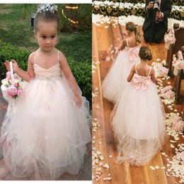 blush pink flower girls lace dress with big bow pageant dresses for girls crystal sash spaghetti straps tulle floor length junior bridesmaid