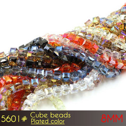 $enCountryForm.capitalKeyWord NZ - Jewelry Beads Making Machine Glass Cube Beads 8mm Plated color A5601 100pcs set fimo beads in bracelet