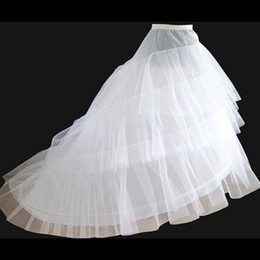 cathedral train petticoats UK - Brand New Petticoats with Train for Weddings & Events White 3 Layers Formal Dress Wedding Crinoline Bridal Accessories Lady Girls Underskirt