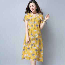 9a32905657 678  2017 Summer New Plus Size Women Fashion Short-sleeved V-neck Cotton  Linen Printed Dress Casual Dress Vestidos