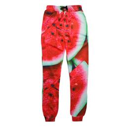 Discount graphic print joggers men - Wholesale- New style men women jogger pants 3D graphic print watermelon sweatpants hip hop trousers