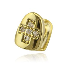 Silicon jewelry online shopping - 18K Gold Plated Single Silicon Cross Rhinestone Tooth Grill Cap Dental Teeth for Man Women Hiphop Custom Grillz Jewelry