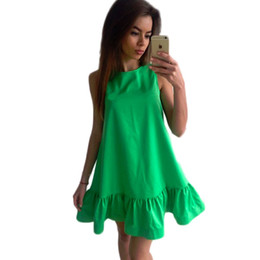 Chinese  Vestidos Sexy Ruffles Women Dress Summer Sleeveless Casual A Line Bodycon Dresses Party Cocktail Short Mini Tube Beach Dress manufacturers