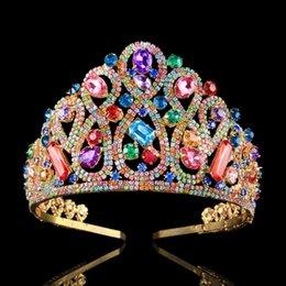 Новый дизайнер свадебный тиара Корона роскошные красочные Циркон Кристалл конкурс красоты партия Корона 18K позолоченные украшения для волос свадебные диадемы