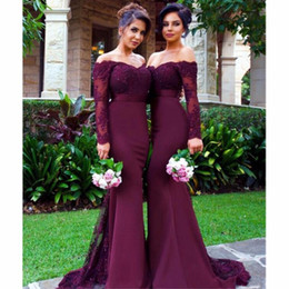 Wholesale Sexy Burgundy Bridesmaid Dresses Long Mermaid Applique Crystal 2019 Cheap Maid of Honor Dresses for Weddings Plus Size