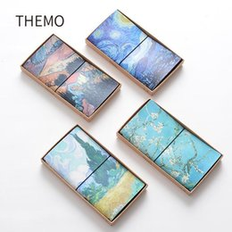 Wholesale Notebook Exercise Books Canada - Wholesale- Famous Van Goah Painting PU Leather Cover Planner Notebook Diary Book Exercise Composition Binding Note Notepad Gift Stationery
