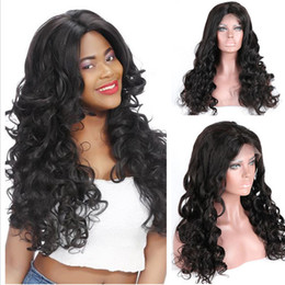 glueless lace wigs loose curl NZ - Full lace wig Celebrity Wigs Beautiful Bouncy Loose Curl virgin malaysian human hair glueless lace front wig for black woman free shipping