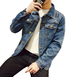 Barato Chaqueta Denim Hombre-Olid Casual Slim Men Denim Jacket Plus Size Jaqueta Bombardeada Homens Alta Qualidade Cowboy Men's Jean Jacket Chaqueta Hombre
