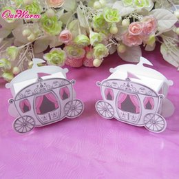 Discount Cinderella Carriage Wedding Favors Wholesale 50pcs Lot Party Box Candy Gift