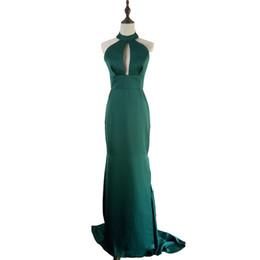 Simple Mermaid Prom Dresses Cheap UK - Sexy Dark Green Mermaid Prom Dresses Deep V-Neck Backless Long elegant Simple Evening Dresses Celebrity Cheap Dresses