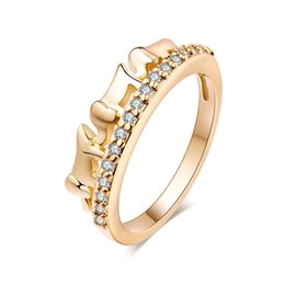 Golds Jewelry For Kids Canada - Lovely Elephant Design Ring 18k Yellow Gold Plated Crystal Finger Joint Ring for Kids Girls Women Fashion Bride Lover Jewelry HR-092