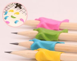 Stationery Canada - 10pc A Lot Of Dolphin Fish Writing Posture Correction Device To Hold A Pen Correction Silicone Stationery Child Student