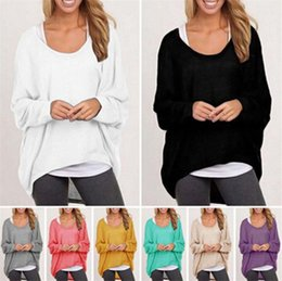 Cotton Knit Blouses NZ - Long Sleeve Fashion Women's Girl's Spring Autum Tops Blouses Shirts Knit Sweater Cotton Blend Baggy Jumper Batwing Loose Pullover