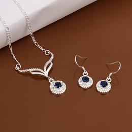 $enCountryForm.capitalKeyWord NZ - wedding Antlers blue silver plated jewelry sets for women WS529,popular 925 silver necklace bracelet jewelry set