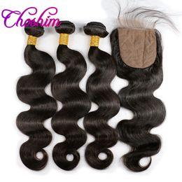 unprocessed virgin hair silk closure 2019 - Slove Rose Silk Base Closure with 3or4 Bundles For Black Woman Brazilian Hair Bundles Unprocessed Remy Body Wave Virgin