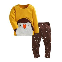 Barato Ano De Roupas De Inverno-New Year Baby Boy roupas Cotton Winter Cartoon Baby Set manga comprida Homewear Suit T-Shirt + Pants