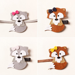 $enCountryForm.capitalKeyWord Canada - Sweet Felt Fox Hair Clips Woodland Party Kid Girl Stretch Headbands Brown and Grey Animal Barrette Glitter Ear Newborn Band.7pcs\